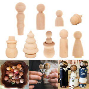 Xmas Tree Wooden Peg Doll Unfinished Gift Holiday Painting Wood Doll Bodies SG