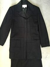 RONIT ZILKHA DARK BLUE SUIT WITH A-LINE SEAMED SKIRT & LONG JACKET -SIZE 10