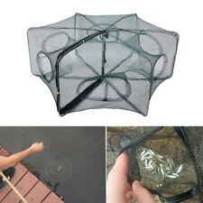 useful Foldable 6 Holes Crab Net Trap Cast Dip Cage Fish Bait Minnow Shrimp new
