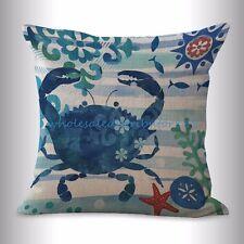 US SELLER- marine nautical ocean animal crab cushion cover zippered throw pillow