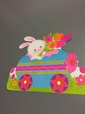 Retro Vintage Easter Decorations Paper Cardboard Dennison Eureka Die Cut Egg Car