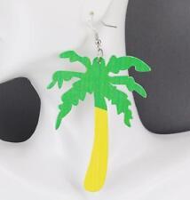 Palm Tree earrings big huge lightweight painted wood dangle palm tree tropical