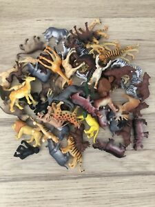 WILD SAFARI ZOO ANIMALS 20 Mixed Small Plastic Toys / Cake Toppers VGC