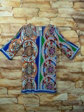 India Boutique Dress or Tunic blue/orange One Size S-M Cold/Slit Shoulder/arms