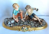 Capodimonte Italian Viertasca Porcelain Figurine Boys playing Dice with Dog 14""