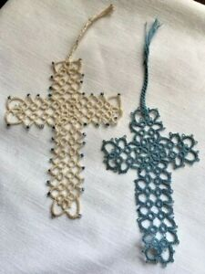 Hand Tatted Cross Bookmarks - Set Of 2 - Estate