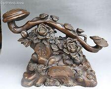 "17"" Chinese Pure Bronze Fengshui Tree Peony Flower Auspicious Ruyi Ru Yi Statue"