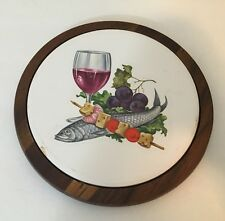 Ozark Walnutware wall decoration Wine Fish Fruit painting 7 inch circle