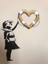 "Banksy X Post Modern Vandal ""Girl With Heart Shaped Float"" + COA Gold"