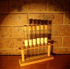 Vintage GLASS TEST TUBE Wood Wooden Stand Spice Rack LABELS CORKS Industrial