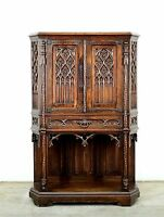 Antique French Carved Walnut Gothic Cabinet Case