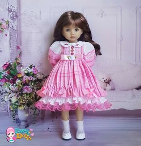 """Little Darling pink embroidered collar dress 13"""" doll, suitable Paola Reina"""