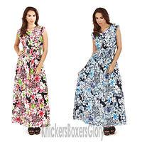 Ladies Floral/Animal Print Maxi Summer Beach Dress Blue/Pink NEW Size 8 - 22