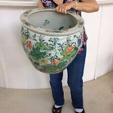 "Huge Beautiful Vintage Asian Flower Pot Planter Vase 16"" wide, 14"" tall ~22lbs"
