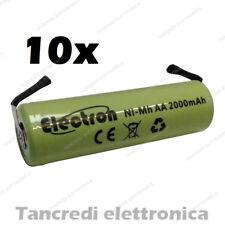 10 BATTERIE PILE RICARICABILI AA STILO NI-MH 1,2V 2000mAh SALDARE 14x50mm 2200mA