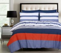 Bed Linen Queen size Quilt Doona Duvet Cover Set With Pillowcase White Blue Rust
