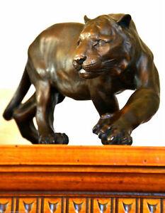 Bronzefigur - Brüllender Tiger in Bronze gegossen signiert S.Melani -Nachguss