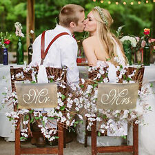 Mr. & Mrs. Burlap Chair Banner Set Wedding Chair Decor Rustic Photography Sign