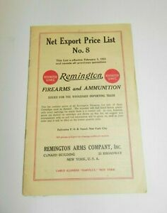 Remington UMC Bridgeport Conn 1925 Net Export Price List No 8