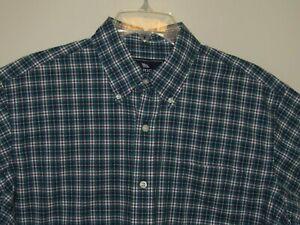 American Living Mens Large Shirt Blue & Green Striped Short Sleeves Cotton NWT
