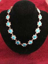 "Vtg. Retro Mid-Century Blue Enamel on Copper Necklace by Matisse -- 18"" Jetsons"