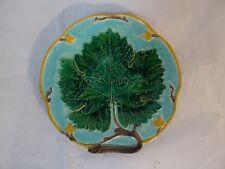 GEORGE JONES Majolica leaf plaque c 1880