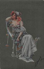 Glamour Lady Art Nouveau embossed 1903 Vintage Postcard