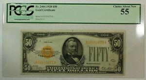 1928 $50 Fifty Dollar Gold Certificate Fr. 2404 AA Woods Mellon PCGS 55