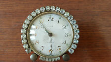 1950's Semca Pink & Smoke Rhinestone Jeweled Boudoir Vanity Swiss Alarm Clock