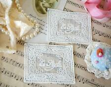 2 Sew On ROSE FRAME Embroidery Cotton Lace Patch Embellishment Badge Rectangular