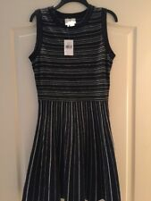 New Kate Spade New York Stripe Knit Fit & Flare Dress Black White Size M $378