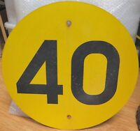 .SCARCE / VINTAGE QLD RAIL 40 KPH LARGE SPEED SIGN. 100% GENUINE.