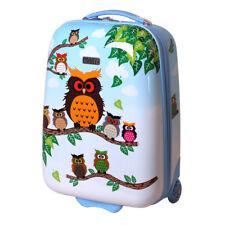Kinder Hartschalen Handgepäck Koffer für Mädchen LED Skater Rollen 819 Eule