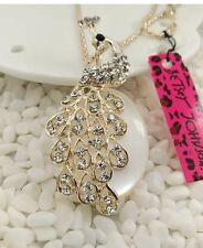 Cute NWT Betsey Johnson Necklace Crystal  Opal Silver Peacock Beautiful
