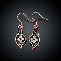Classic 18K Rose Gold Filled Clear Crystal Black Oil Drip Leaf Dangly Earrings