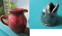 Old Fort Pottery NC Small Blue Pot Signed John Garrou FISH HEAD VASE PICK1