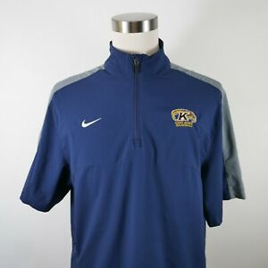 Kent State Golden Flashes Mens Polyester Dri Fit SS 1/4 Zip Navy Shirt Nike L