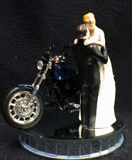 Wedding cake topper W/ Blue Harley Motorcycle Bride & Groom top 3 skin tones HOG