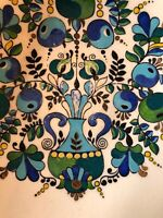 Vintage MCM Modernist Norway Finland Spectacular Enamel Bowl Bluebirds