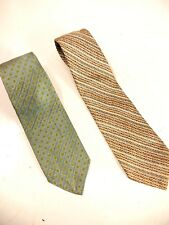 2 Vintage Christian Dior Blue Green Print White Brown Silk Neck Tie 3.5�x56�