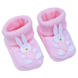 BNWT baby boys or girls pink or blue knitted bunny rabbit booties. 0-3 Months