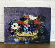 Beautiful Mid Century Oil On Board Anemone Floral Painting Art