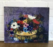 Hermoso de mediados de siglo aceite a bordo anémona Floral Arte De La Pintura