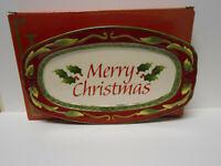 "FITZ & FLOYD 2013 ""MERRY CHRISTMAS"" ST NICK SENTIMENT TRAY NEW BOX 9.5"" X 5 3/4"