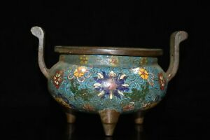 """7"""" Chinese Red Copper Cloisonné Wire Inlay Two Ear Arabesquitic Incense Burner"""