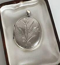 Vintage Large 1978 Hallmarked Satin Sterling Silver Flower Locket Pendant   (D5)