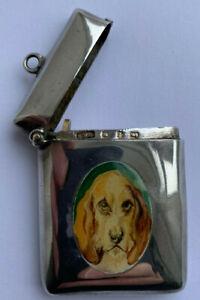 Victorian 1899 Antique Enamel Sterling Silver Vesta Case Bloodhound Spaniel Dog