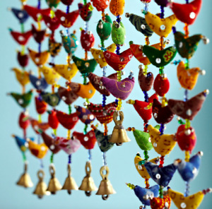 Chime decoration colourful long hanging Indian 10 bird chicken bell ethnic hippy