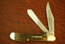 CASE XX USA LIMITED EDITION 1/2500 1996 GREEN BONE DOGLEG TRAPPER KNIFE (3695)