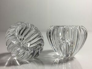 Vintage Pair of DANSK Int. Japan Full Lead CRYSTAL Glass Votive CANDLE Holder